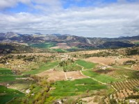 Picturesque landscape with cultivated fields and green meadows of hilly Andalusia countryside in southern Spain.