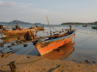 national fishing boats on the shore of the Indian Ocean phuket thailand
